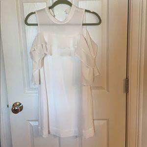 White cold shoulder cut out mini dress
